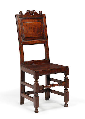 A late 17th century oak back stool Circa 1690, Yorkshire