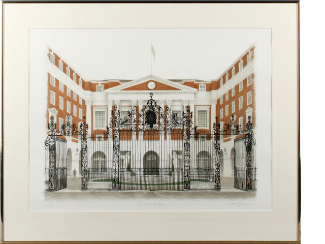 David Gentleman (British, 1930) The BMA Courtyard Lithograph printed in colours, signed, titled and numbered 23/140 in pencil, together with another by the same hand, 'The British Medical Association', signed and numbered 23/115 in pencil, 525 x 420mm (20 3/4 x 16 1/2in)(I)(and smaller)(2)