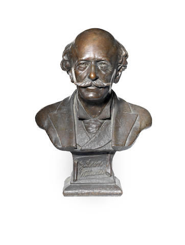 An early 20th century American bronze portrait bust depicting James Leon Williams, American (1852-1932)