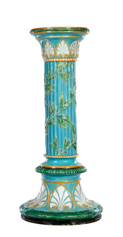 A George Jones majolica tall column pedestal, circa 1870