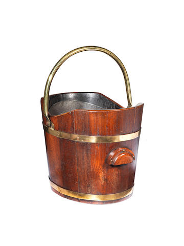 A 19th century brass bound mahogany bucket