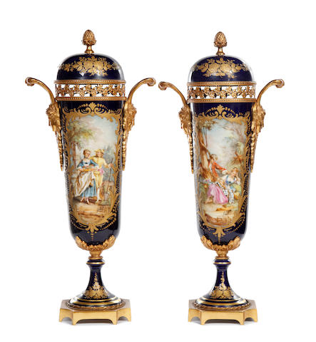 A pair of ormolu mounted Sèvres-style vases, late 19th century