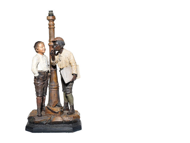 An early 20th century Austrian Goldscheider style terracotta group of a shoe shine boy and a newspaper seller modelled as a lampbase,