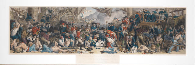 After Daniel  Maclise The Death of Nelson at the Battle of Trafalgar Handcoloured engraving by W. Sharpe, 1874, published at the West Strand, London, 295 x 1115mm (11 3/4 x 45 1/4in)(PL)