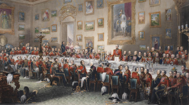 After William Salter The Waterloo Banquet 1836 Handcoloured engraving by William Greatlock, 1846, published by F.G. Moon, London, 624 x 1110mm (24 1/2 x 39 3/4in)(PL)