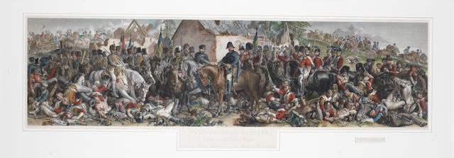 After Daniel  Maclise The meeting of Wellington and Blucher after the Battle of Waterloo handcoloured engraving by Lumb Stocks, 1875, published by the Art Union, London, 298 x 1135mm (11 3/4 x 44 3/4in)(PL)