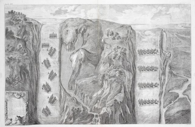 Three engravings of battlescenes