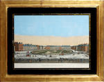 Two 18th Century coloured engravings Vue de la Place de Grosvenor a Londres
