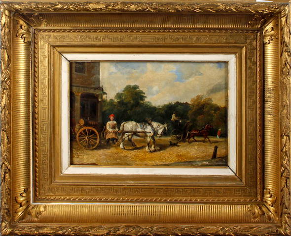 "English School, 19th Century  ""Horse and trap & horse and cart by a tavern"","