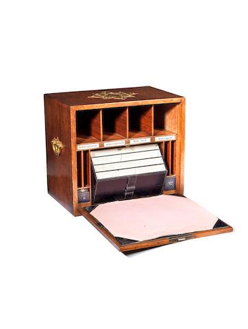 A late Victorian oak correspondence box
