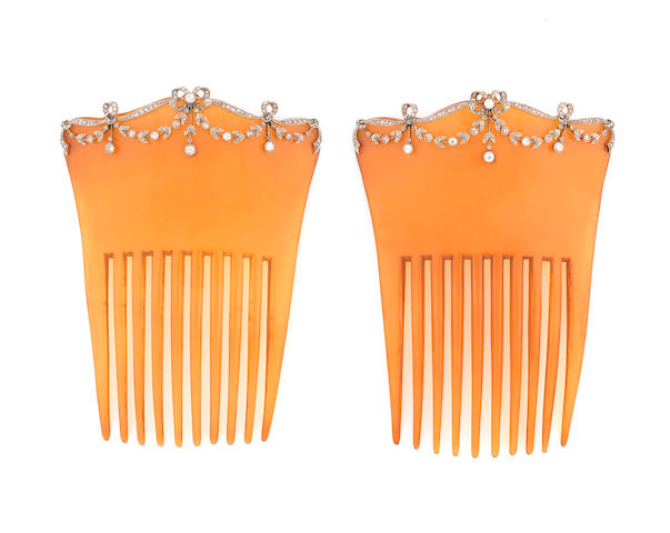 A pair of diamond-set haircombs, (2)