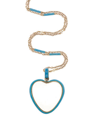 A mid 19th century enamel, seed pearl and glass heart pendant necklace