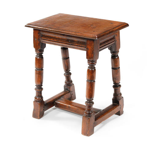 A Charles II oak joint stool