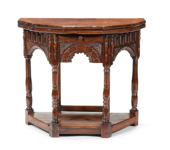A Charles I oak credence table Circa 1640