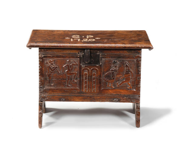 A child's boarded chest Possibly Welsh