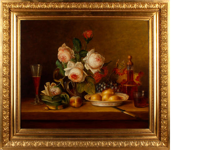 Continental School, Late 19th/early 20th Century Still life with jug of roses, fruit and a decanter on a table