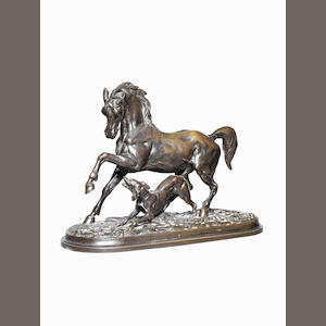 Christophe Fratin (French, 1801-1864)A bronze group of a horse and a dog