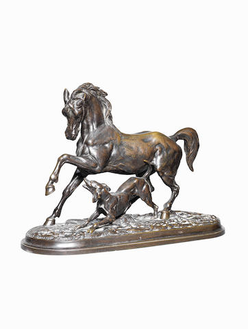 Christophe Fratin (French, 1801-1864) A bronze group of a horse and a dog