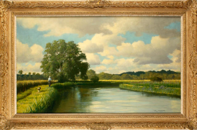 Roy Nockolds (British, 1911-1980) Fly fishing, river Test