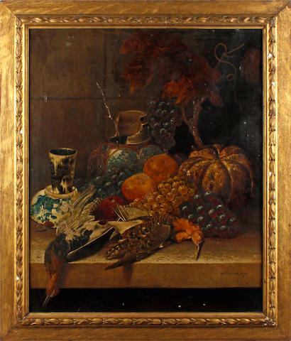 W. B. Fleming, 19th Century Still life with exotic fruit, game birds and a broken jar