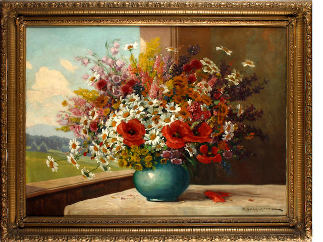 Peter Grabwinkler (Austrian, 1885-1943) Still Life of flowers