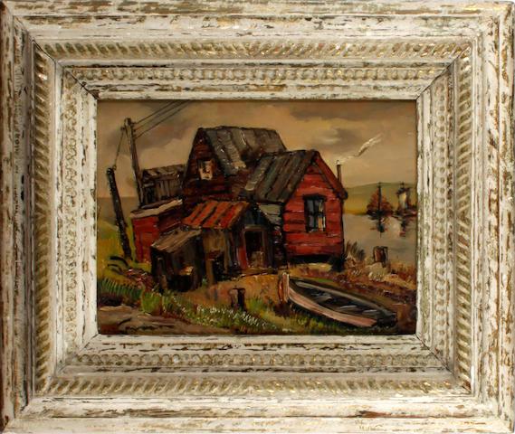 Stanley Grimm (British, 1891-1966) Fisherman's hut, Walberswick