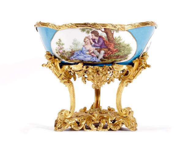 A Sévres-style gilt metal mounted bowl on stand, late 19th century