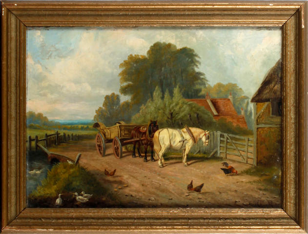 James Clark (British, 1858-1943) At the farm gate