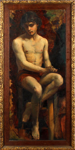 English School, early 20th Century  Portrait of a semi nude boy, seated on a stool