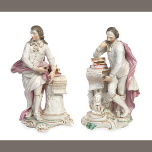 A pair of Derby figures of John Milton and William Shakespeare, circa 1790
