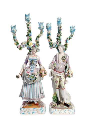 A pair of Dresden figural candelabra, 19th century
