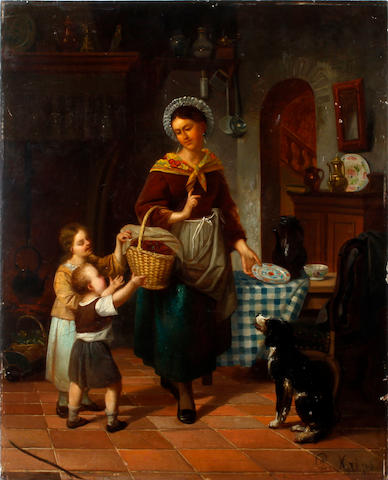 L. Krips, 19th Century A woman and two children in a kitchen interior