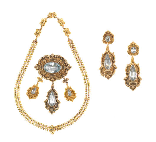 A gold and foiled aquamarine demi-parure, first half of the 19th century (3) (illustrated inside the front cover)