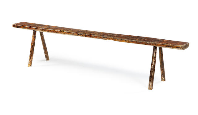 An unusual scumbled primative bench Circa 1800
