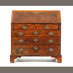 Early 18th Century walnut bureau, damages to veneers