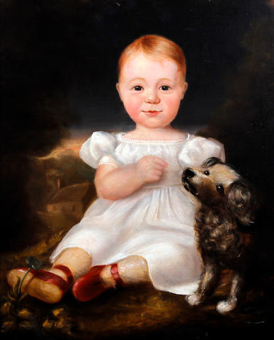 English or Scottish School, (circa 1838) Portrait of Patrick Gordon Smith (1834-1856), as an infant wearing smock with a pet dog before a landscape