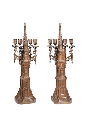 A pair of late 19th century Gothic Revival candelabra