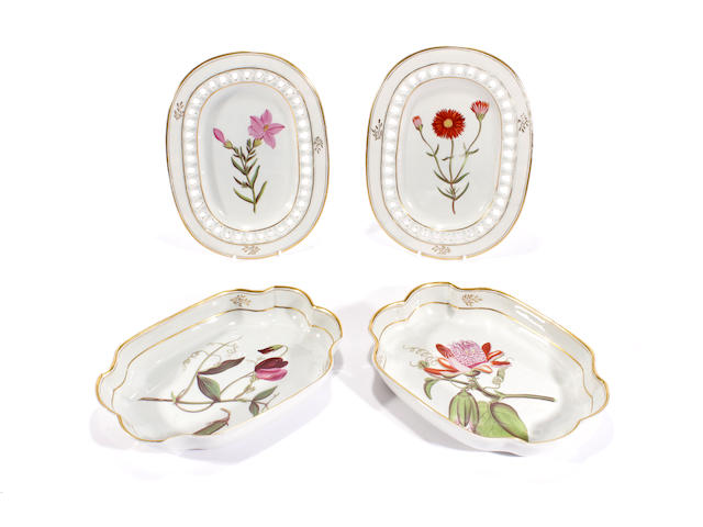A pair of rare Davenport botanical dessert dishes and a pair of stands for dessert baskets, circa 1807-12