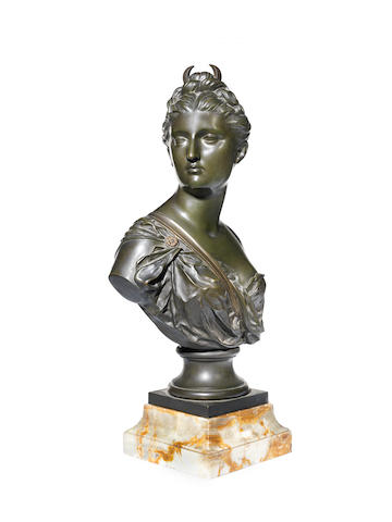 After Jean Antoine Houdon, French (1741-1828) A late 19th century French bronze bust of Diana the Huntress