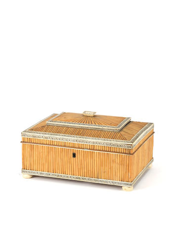 A late 19th century Anglo-Indian porcupine quill and ivory box