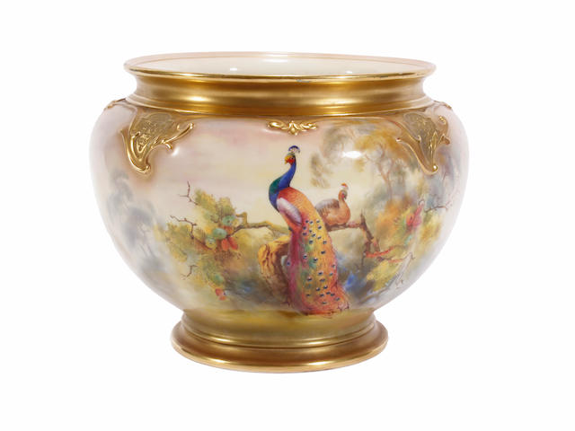 A Royal Worcester jardinière, dated 1917