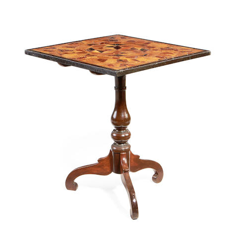 A Singhalese third quarter 19th century exotic specimen wood and ebony occasional table