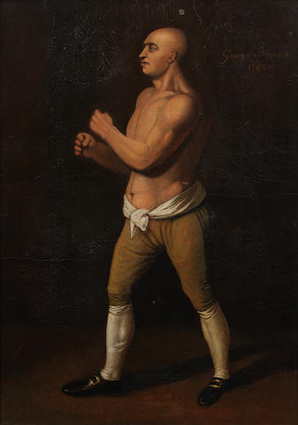 English School, 18th century Portrait of the pugilist George 'The Coachman' Stevenson 1742