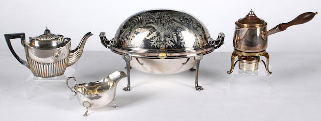 A batchelors silver tea pot,Birmingham 1901, a silver sauce-boat and a silver plated breakfast meat dish (3).