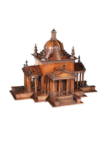A beech architectural model of a Palladian style building