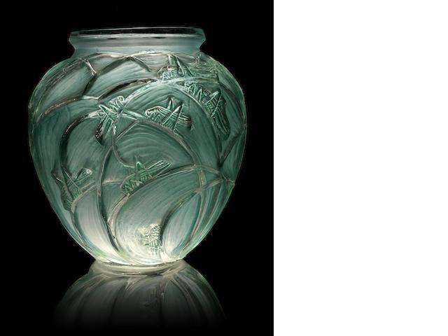 René Lalique 'Sauterelles' a Vase, design 1913