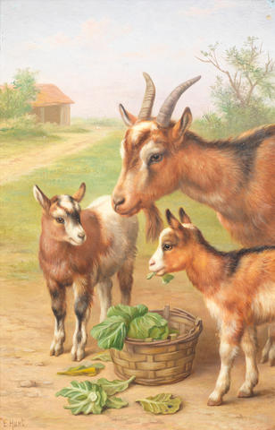 Edgar Hunt (British, 1876-1955) Goats in a farmyard