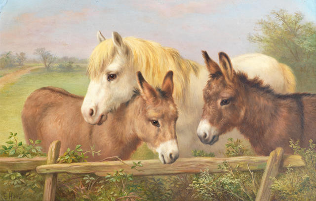 Edgar Hunt (British, 1876-1955) A grey pony and two donkeys