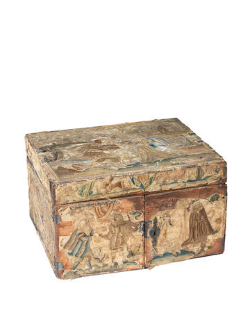 A Charles II stumpwork casket depicting Rebecca at the well