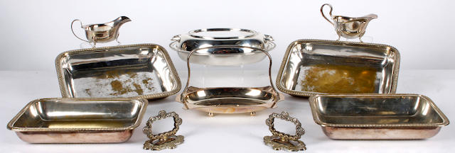 A silver twin handled entree dish and cover, Sheffield 1933, 29 troy ounces (apporximately) and sundry items of electroplate, including:  (9)